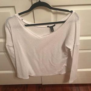 White waffle net sweater